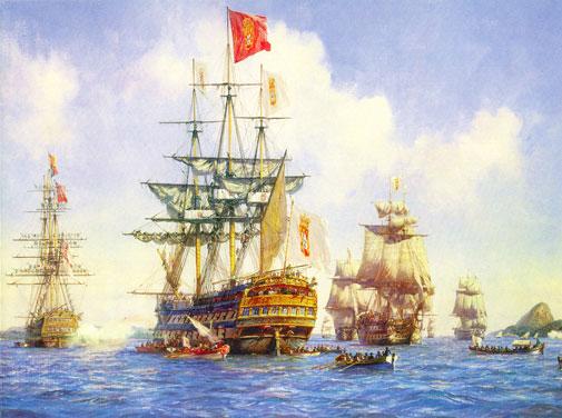 Chegada da Família Real portuguesa ao Rio de Janeiro em 7 de Março de 1808, 1999, Óleo sobre tela, 609 x 914 milímetros.