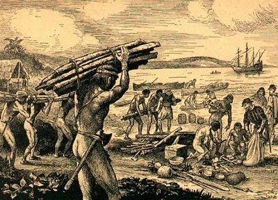 Índios trabalhando na extração de pau-brasil.
