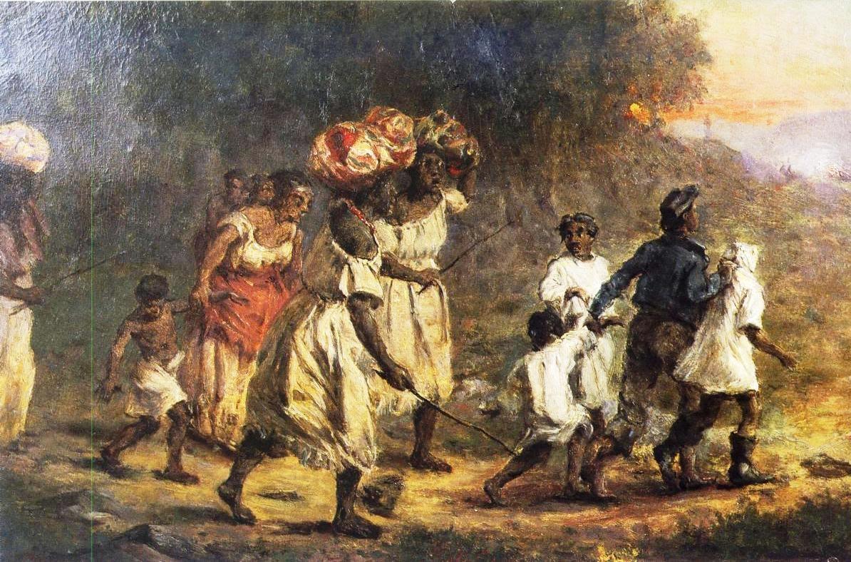 Fuga de escravos, óleo sobre tela por François Auguste Biard (1859)