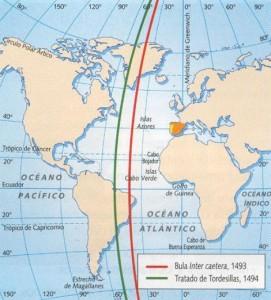 Meridianos traçados de acordo com a Bula Papal e Tordesilhas