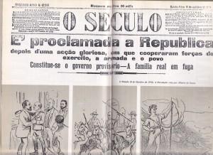 """Capa do Jornal """"O século"""" com a notícia da proclamação"""